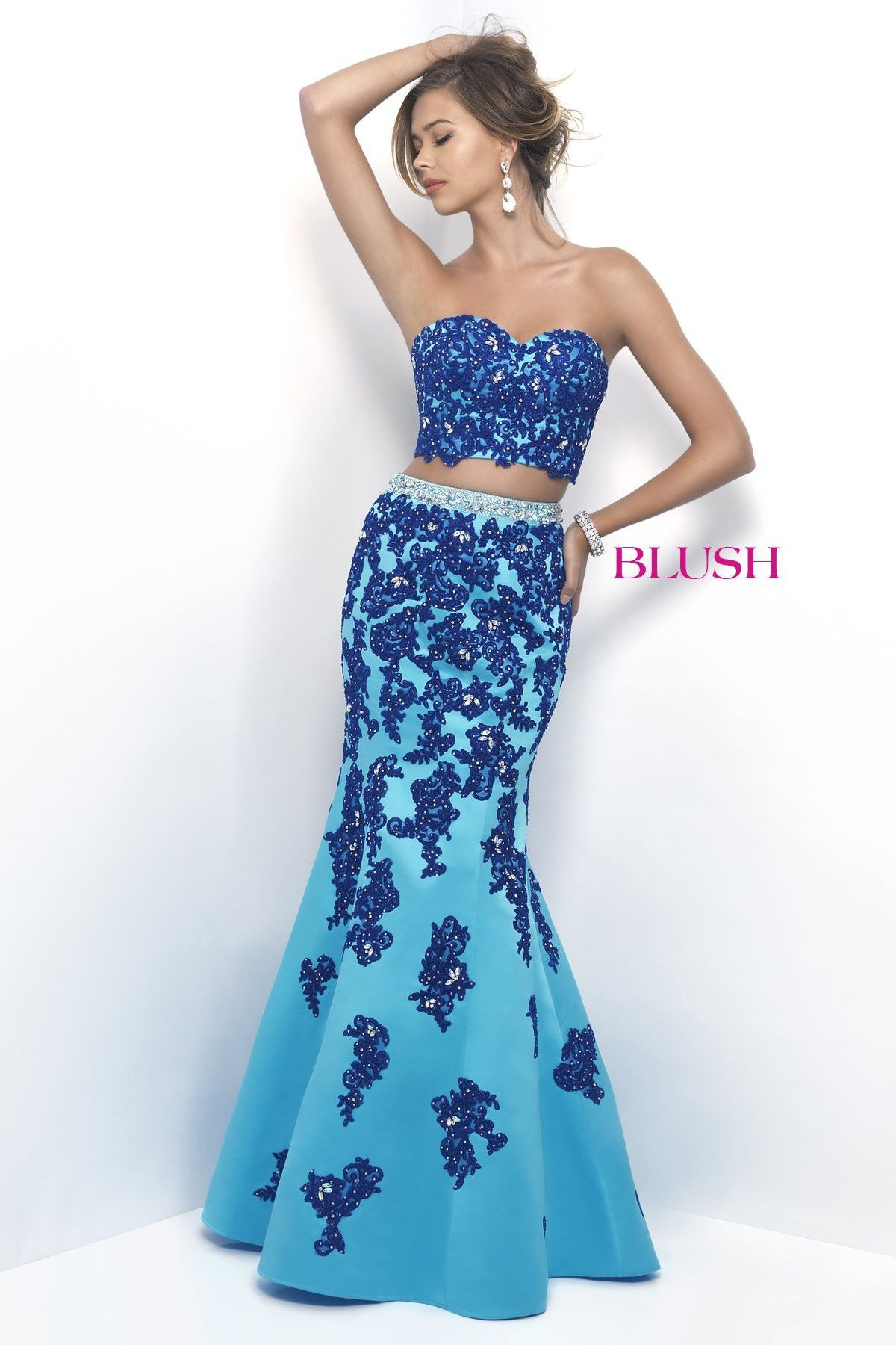 Blush prom pool bluesapphire lace embroidered twopiece prom