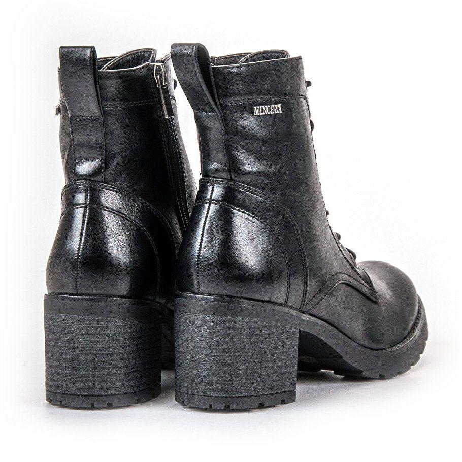 Czarne Sznurowane Botki Vinceza Biker Boot Boots Shoes