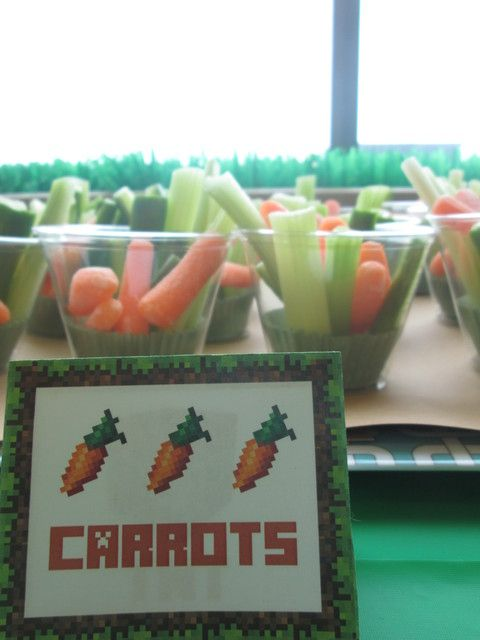 Snacks at a  Minecraft boy birthday party!  See more party ideas at CatchMyParty.com!