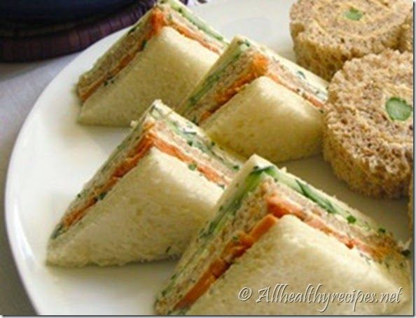 This traditional tea sandwich features three ribbons of ...