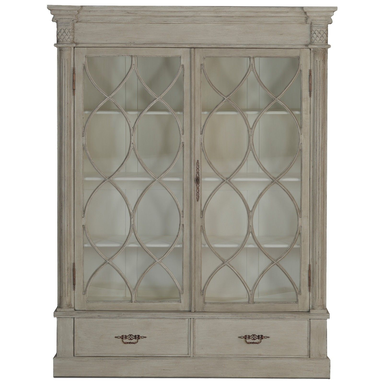 Large French-farmhouse Style China Cabinet. Features
