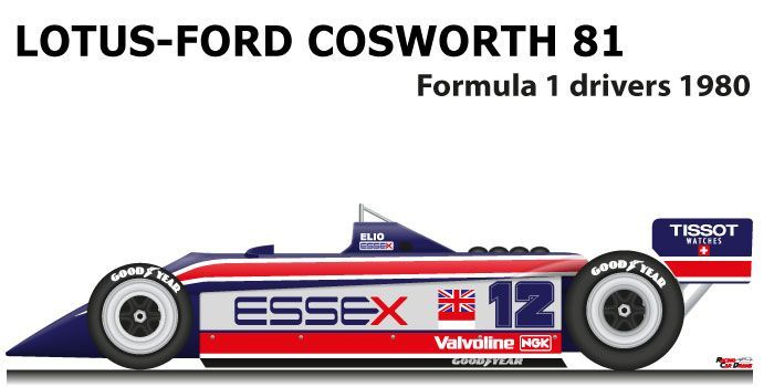 LOTUS - FORD COSWORTH 81 n.12  - Racing Car Draws - - LOTUS - FORD COSWORTH 81 n.12  - Racing Car D