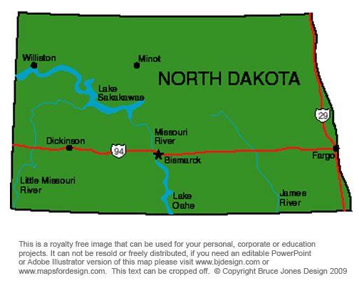 North Dakota Bismark royalty free jpg map jeux et activits