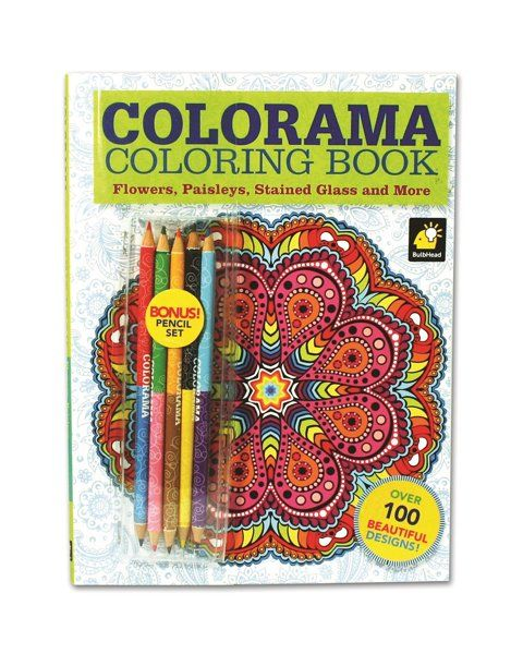 New Colorama Adult Coloring Book Relaxing Flowers Paisleys Stained Glass 12 Colored Color Pencils What About This Book Flowers Coloring Books Color
