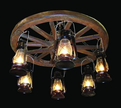 Amish Wagon Wheel Chandeliers With Edison Bulbs Fans Rustic Lighting And