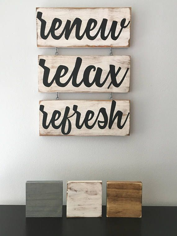 Renew Relax Refresh Spa Sign/Spa Art/Bathroom Art/Relax