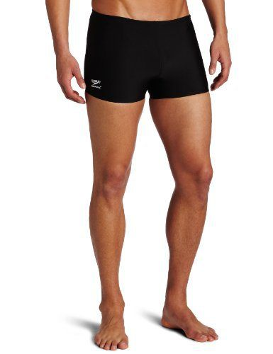 655410e2c1b69 Speedo Men's Endurance+ Polyester Solid Square Leg Swimsuit, Black, 34 -  http:/