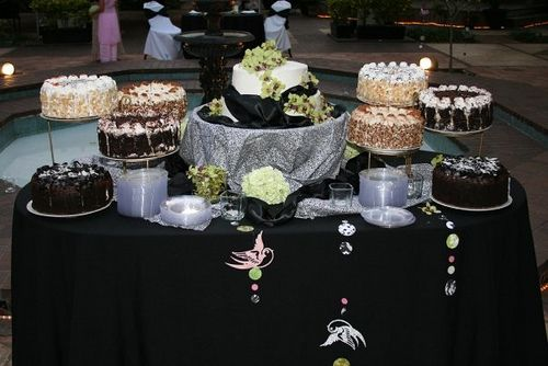 Outdoor Wedding and Cake Display with Lifts. Delicious and Beautiful! www.divinemenuscatering.com