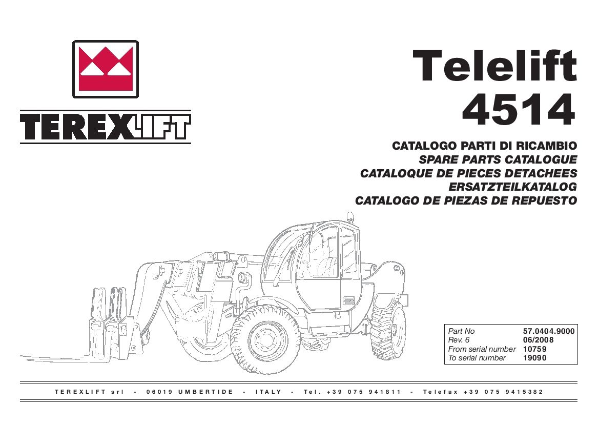 Terex lift Telelift 4514 from SN 10759 to 19090 Parts