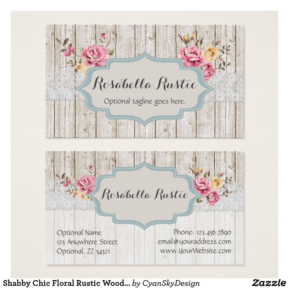 Shabby Chic Fl Rustic Wood Vintage Lace Business Card
