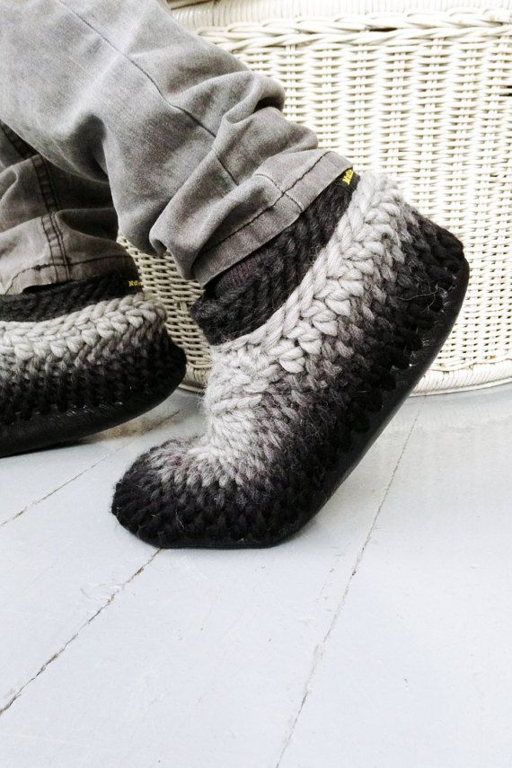 extra large crochet slippers for men with leather soles custom made