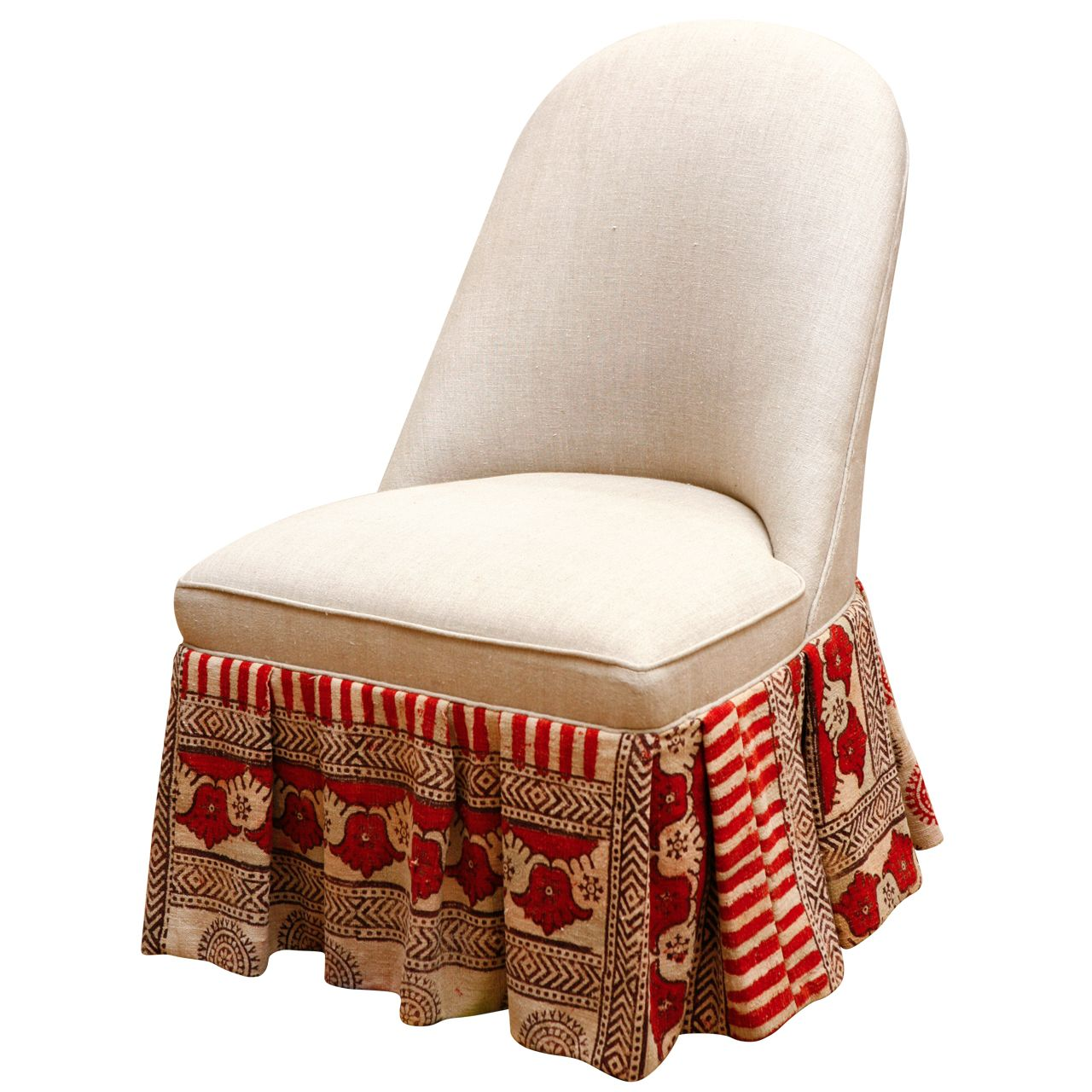 Sensational Slipper Chair With Vintage Indian Kalamkari Fabric Theyellowbook Wood Chair Design Ideas Theyellowbookinfo