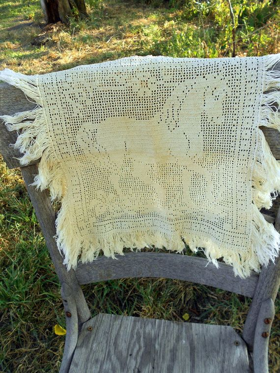 Antique Filet Crochet Horse Doily Table Scarf With Fringe Crochet