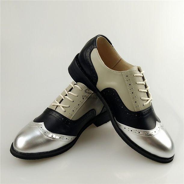 Pump - Silver Black Grey Boyish Vintage Flat Oxford Shoes @shoesofexception #boyish #style #pumps