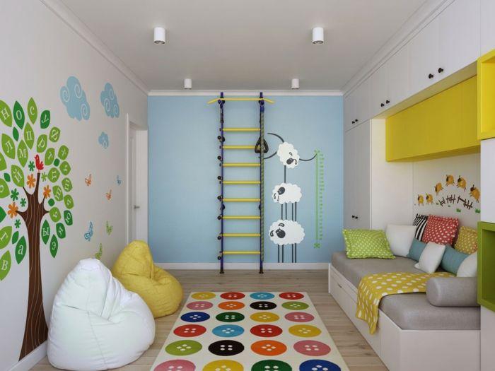 wohnideen kinderzimmer wandgestaltung, wandtattoos farbige wandgestaltung kinderzimmer wohnideen wanddeko, Design ideen