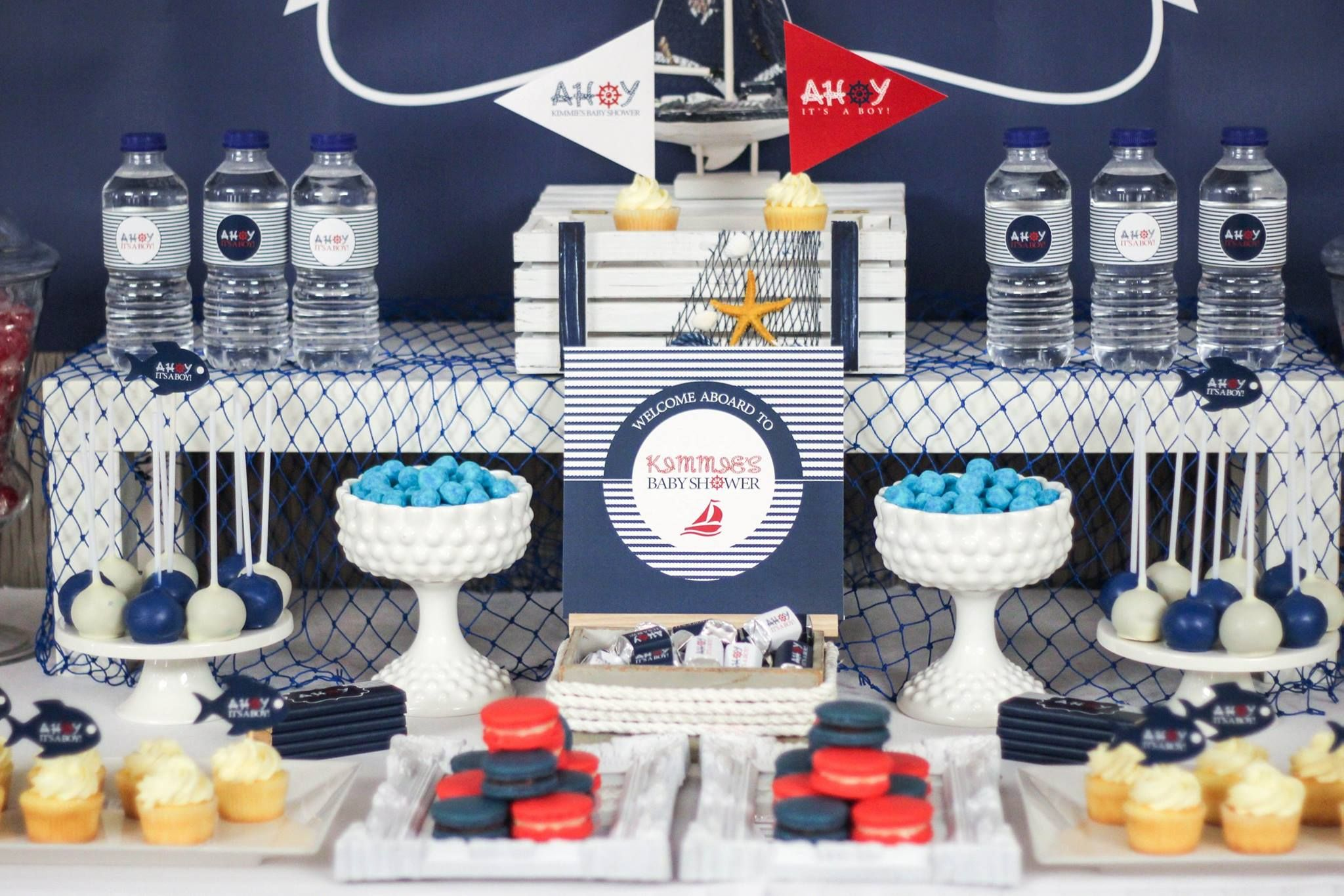 Fancy nautical baby shower ahoy nautical baby shower for Anchor decoration party