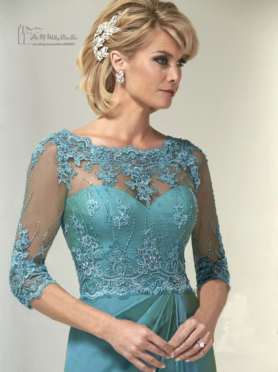 Turquoise Plus Size Mãe dos vestidos de noiva vestidos de renda ...