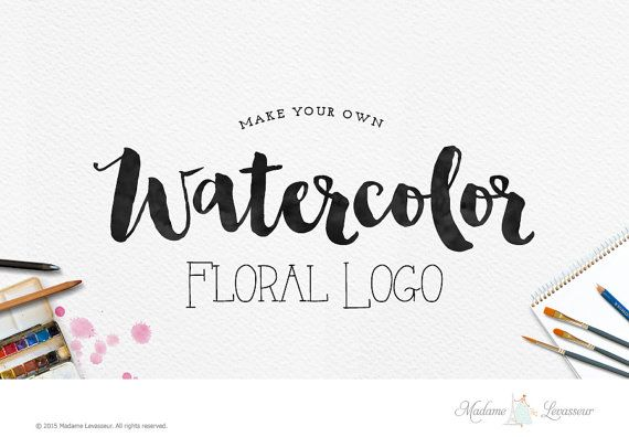 watercolor floral logo design make your own logo by TheParisWife