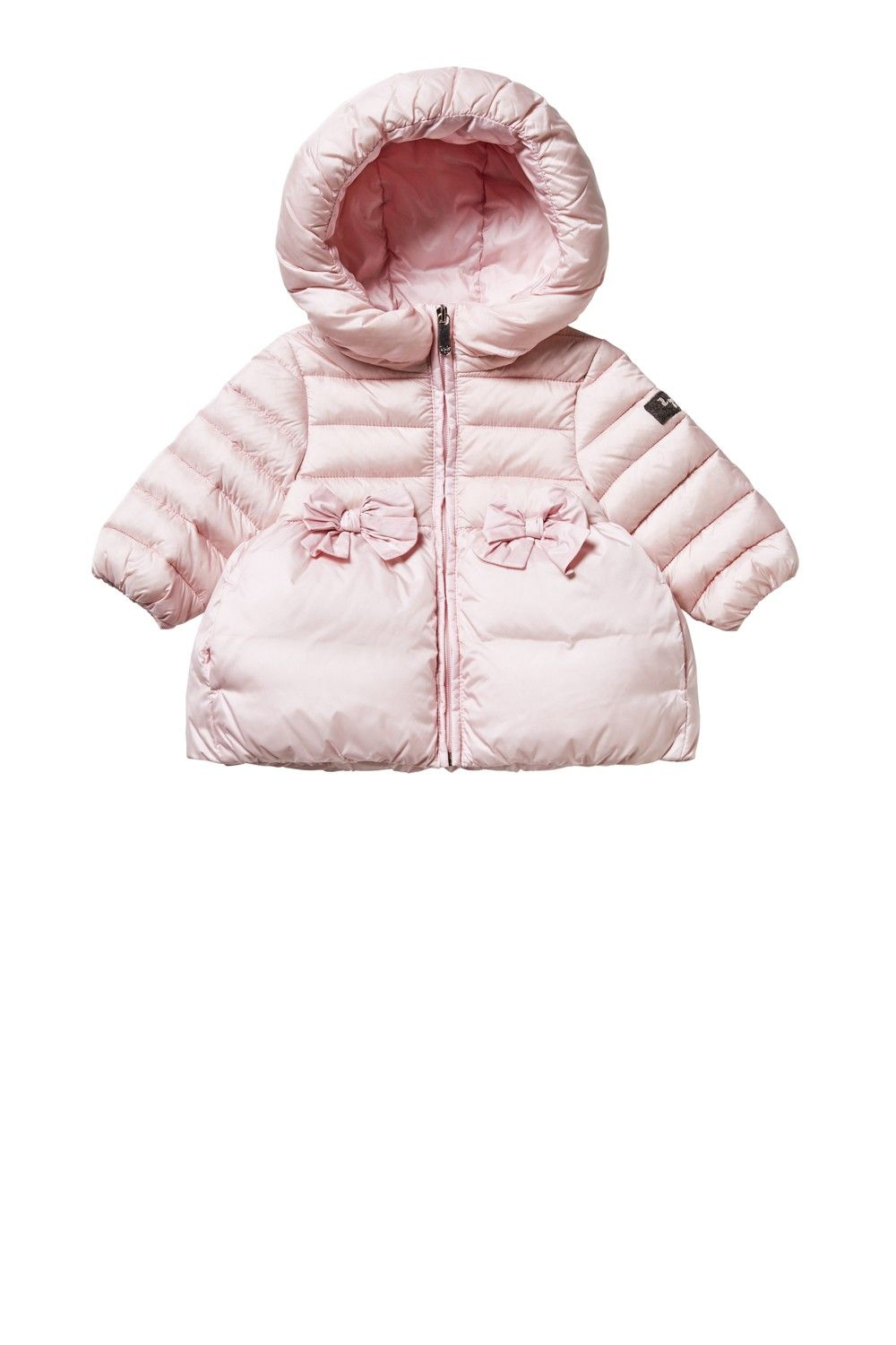 PINK QUILTED JACKET WITH HOOD AND FRILL WITH BOWS baby