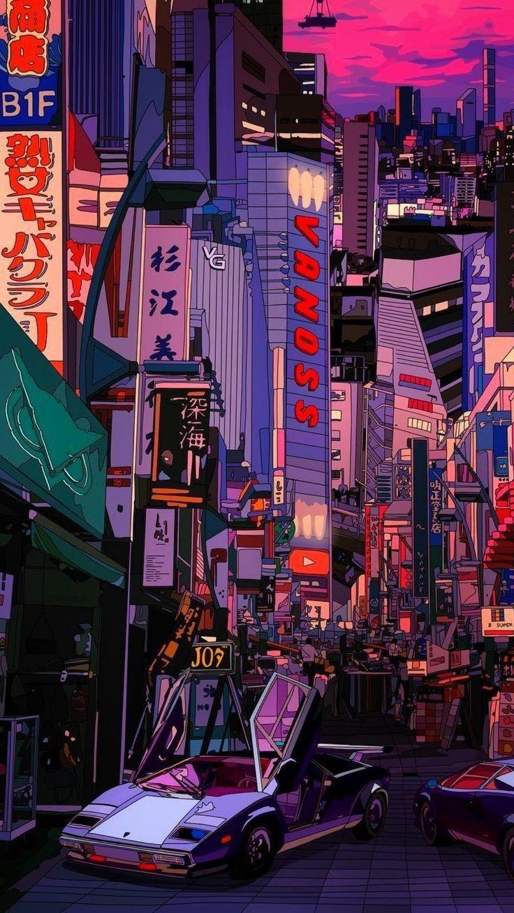 Beautiful anime art - Japanese city!  #anime #animeart #japan #japanese #futuristic #cars #bolides #tokyo #osaka #city #urban #vaporwave #aesthetics #retrowave