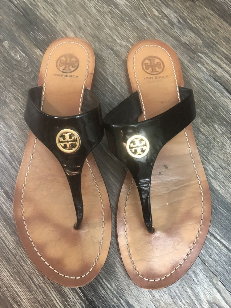 7f77f4298be8d Tory Burch Cameron Thong Patent Saffiano Leather Sz 9 Womens 48A ...