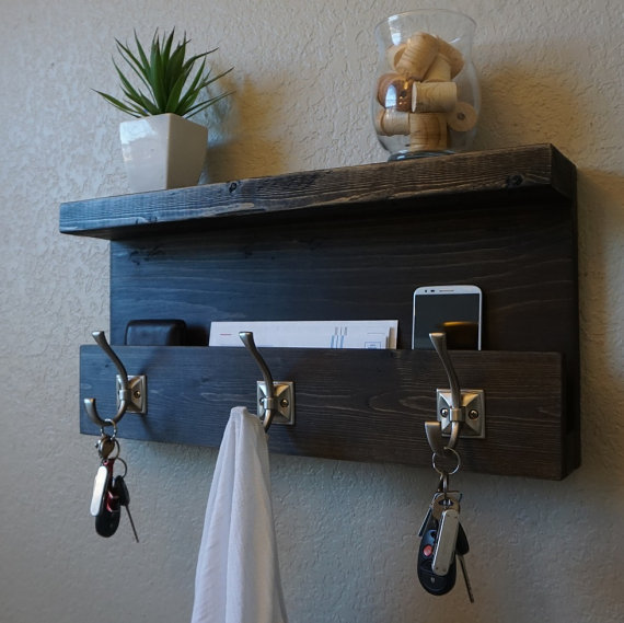 43 Beautiful Rustic Entryway Decoration Ideas: Modern Rustic Entryway Organizer Shelf With Satin Nickel