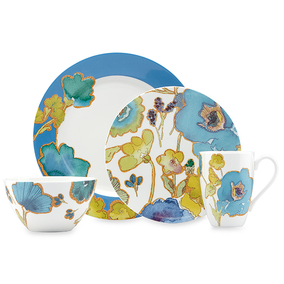 Lenox Floral Fusion Blue Dinnerware Floral Fusion offers a fusion of dazzling colors and contemporary design. Flashy blues and greens are breathtaking, along with the contemporary floral motif on each piece. $49.99