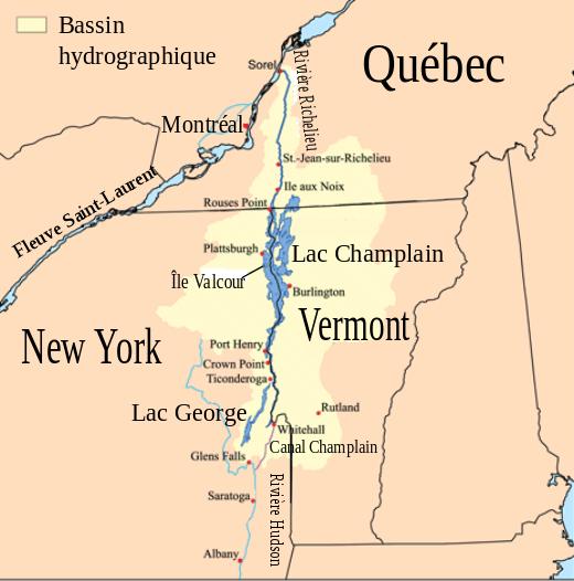 Le lac Champlain que se partagent les états de New York, du Vermont et du Québec est relié à la ville de New York par la rivière Hudson et à Montréal par la rivière Richelieu.