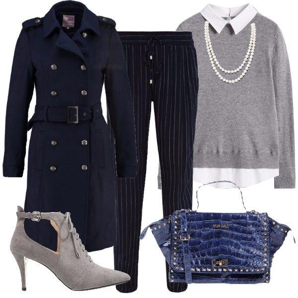 I pantaloni blu gessati modello con coulisse in vita sono abbinati al  maglione grigio con effetto di camicia bianca sotto. Come capospalla  cappotto stile ... b9d85b2c808