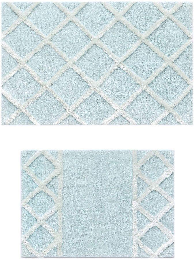 Sunham Diamond 2 Pc Cloud Blue Bath Rug Set Bedding Blue Bath