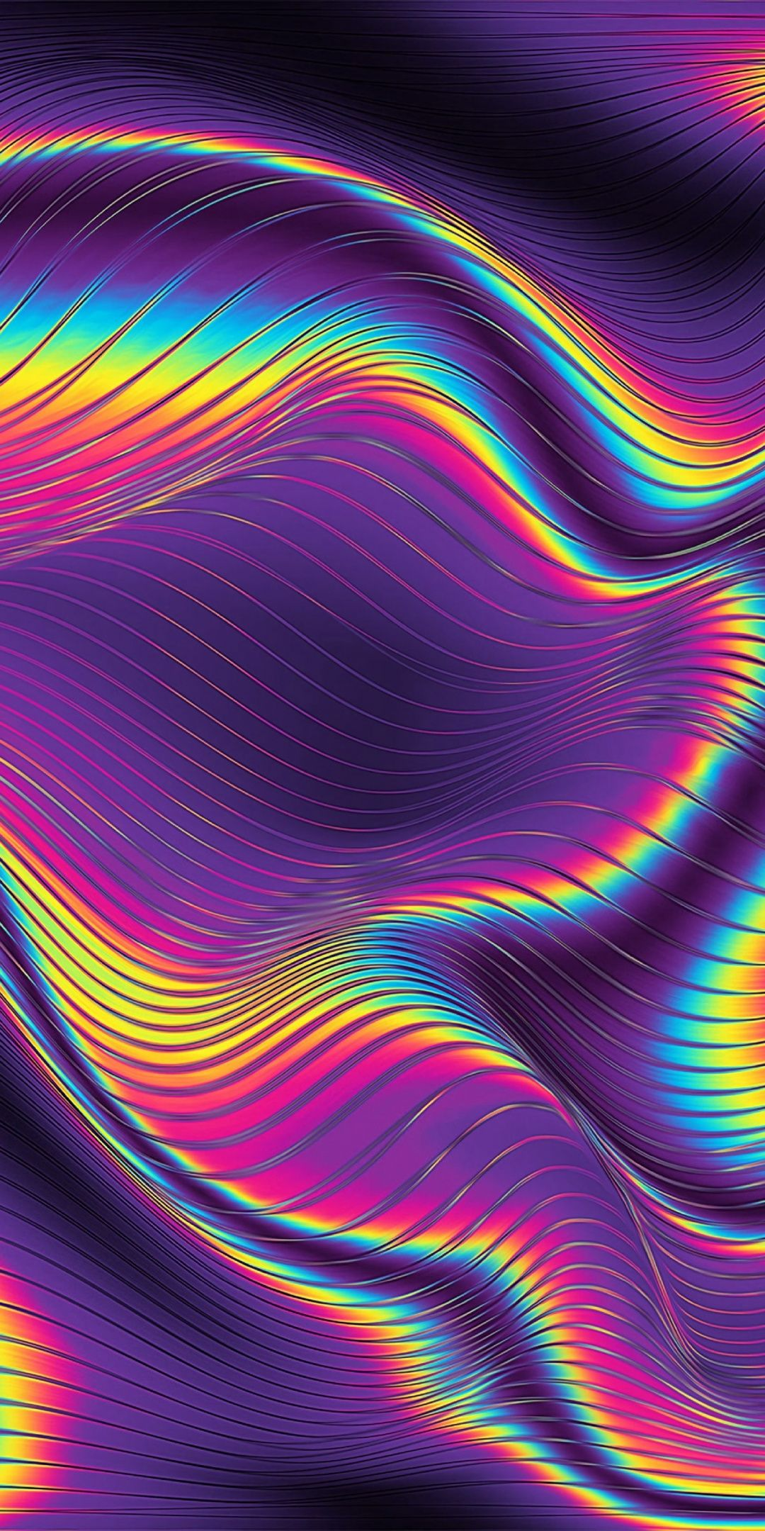 Bright, glowing curves, metallic, texture, 1080x2160 wallpaper