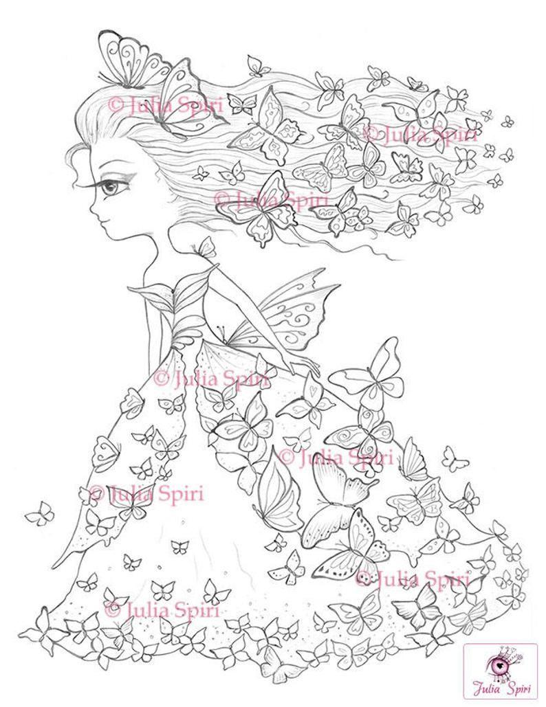 Coloring Pages Digital Stamp Digi Girl Butterfly Fantasy Etsy Desenhos Colorir Desenho