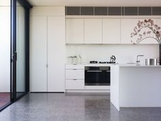 White Kitch Bench Polished Concrete Floor   Google Search