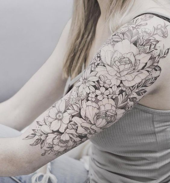 Beautiful Floral Upper Arm Piece By Tritoan Ly Floral Tattoo Sleeve Original Tattoos Upper Arm Tattoos