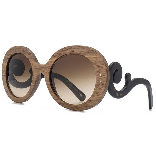 7ca530a94142 Prada Wooden Baroque Round Sunglasses in Nut Canaletto Brown Silver... (390  CAD