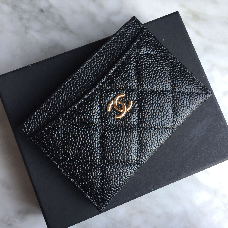 a60603cf5313 Chanel card holder original leather black gold | ← style • designer ...