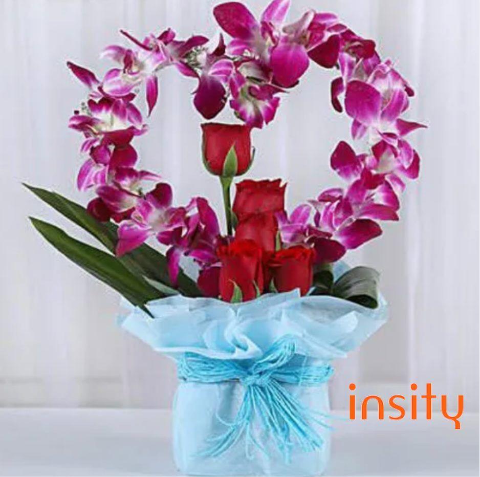 Romantic Heart Shaped Orchids Arrangement Send Flowers Online Orchid Arrangements Flower Delivery