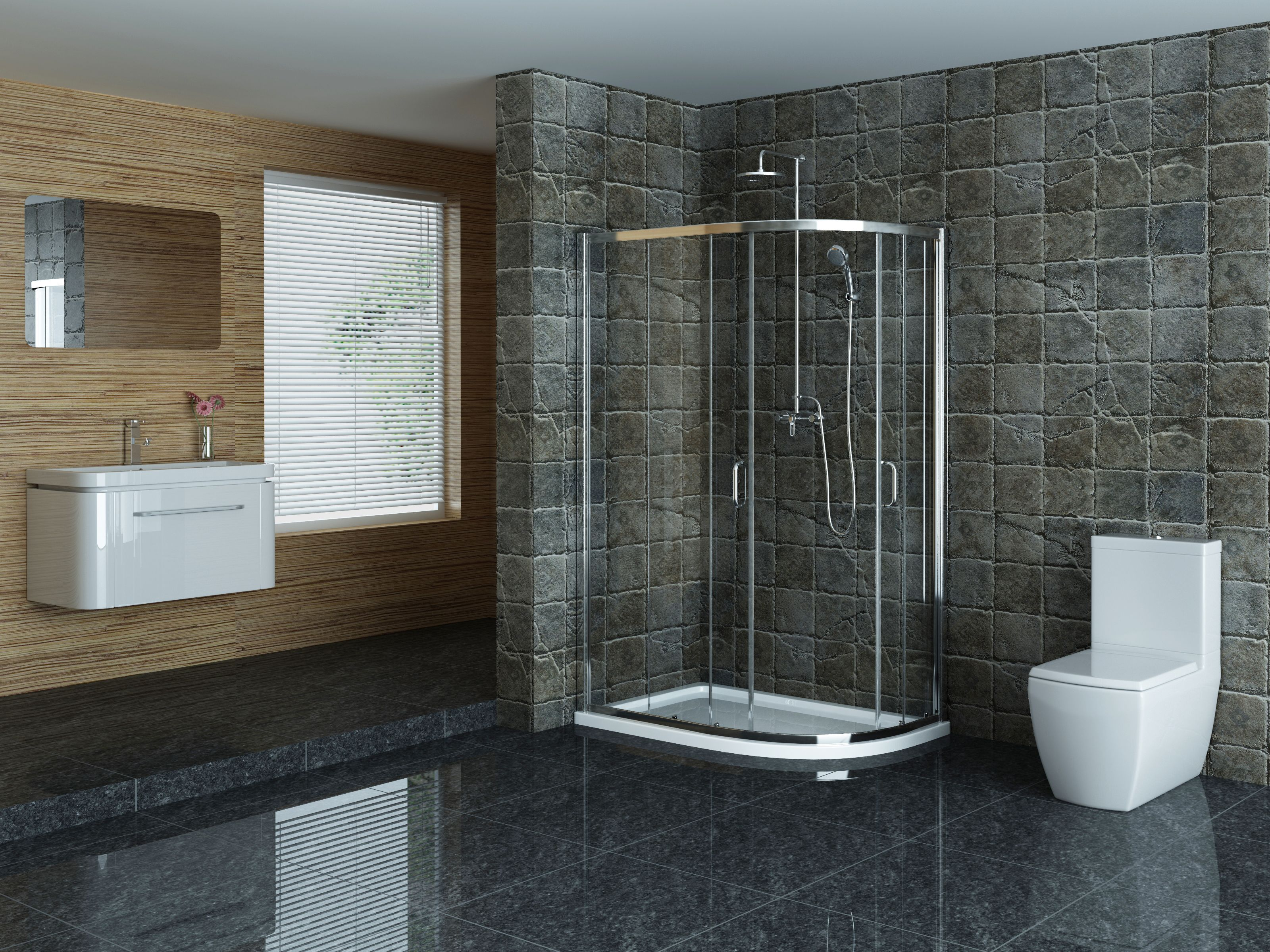Rocco Grande Offset Quadrant Shower Enclosure Suite Bold