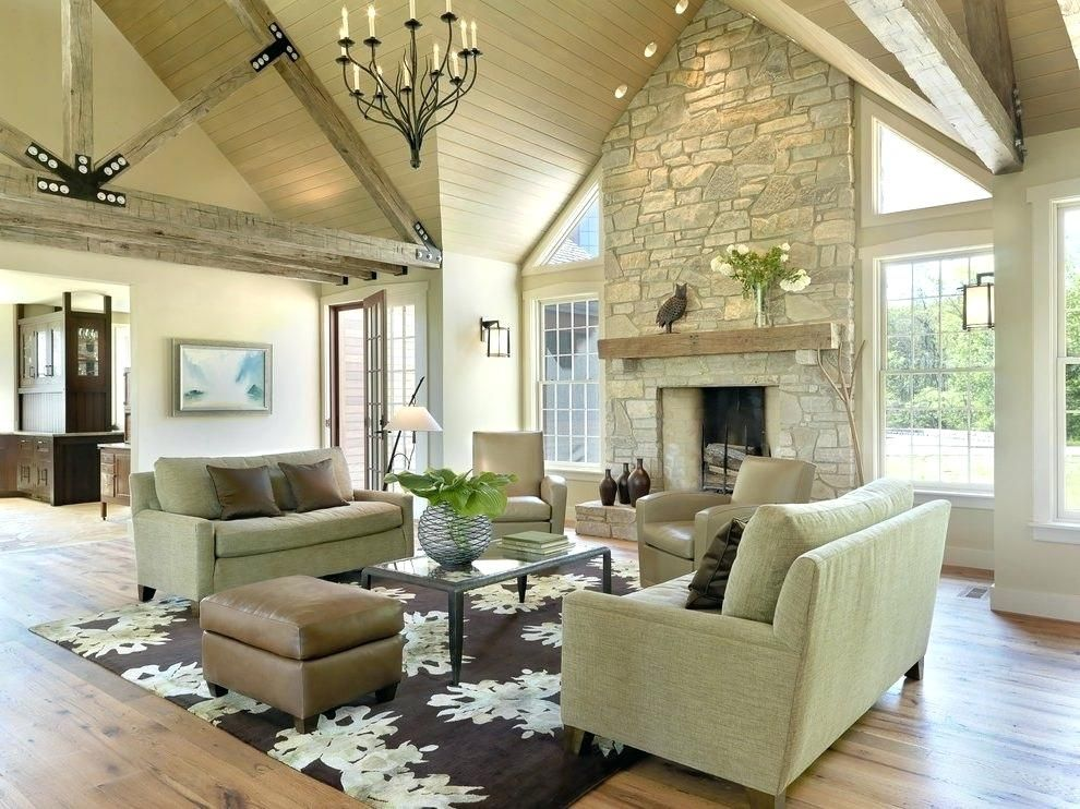 Fireplace Cathedral Ceiling Ideas Google Search Modern Rustic Living Room Vaulted Ceiling Living Room Great Room Layout