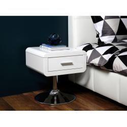 Photo of Comodino Carryhome laccato, bianco lucido, metallo, 1 cassetto, 40x45x40 cm Carryhome