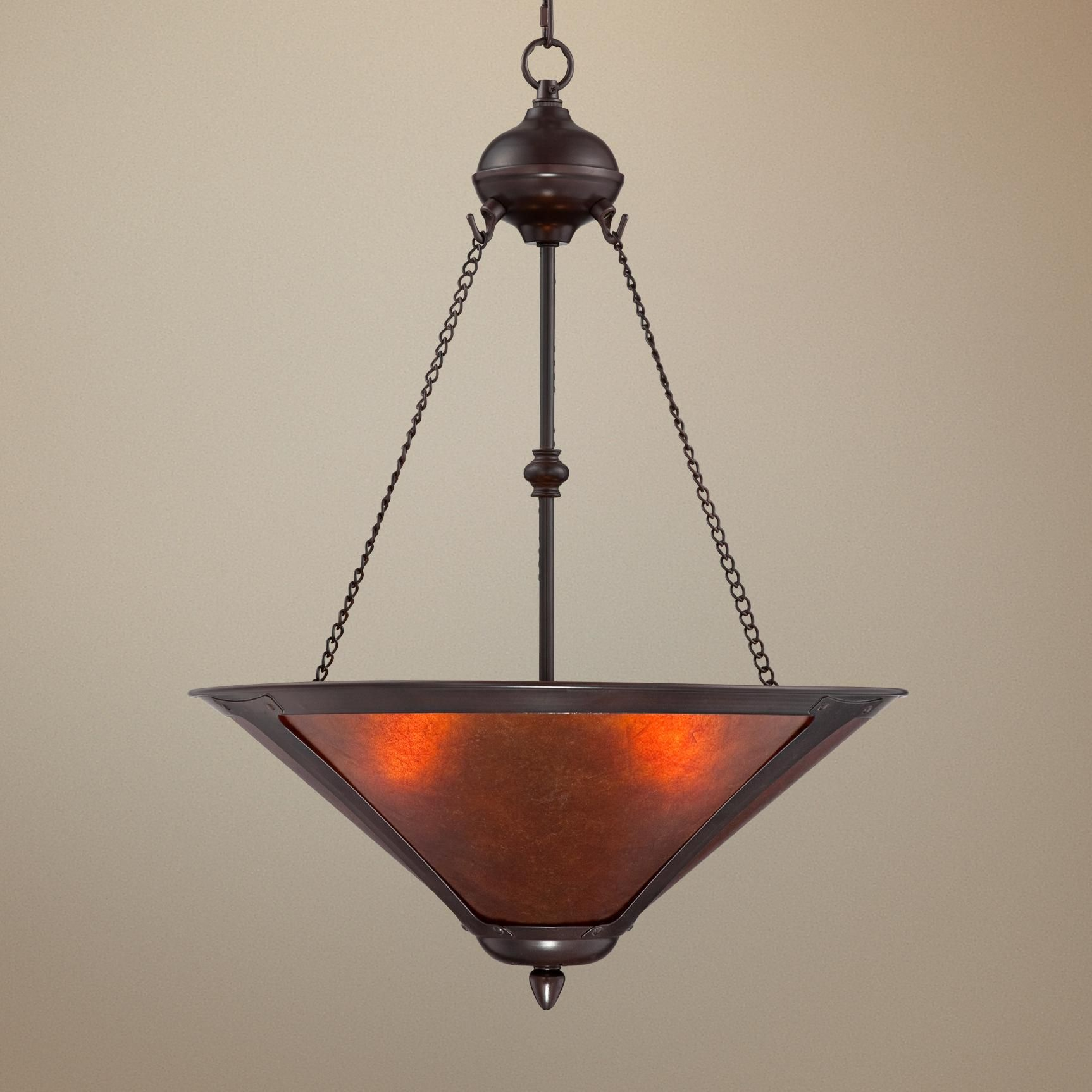 """Wine Cellar Light Fixtures: Mission Style Oil-Rubbed Bronze 17"""" Wide Mica Pendant"""