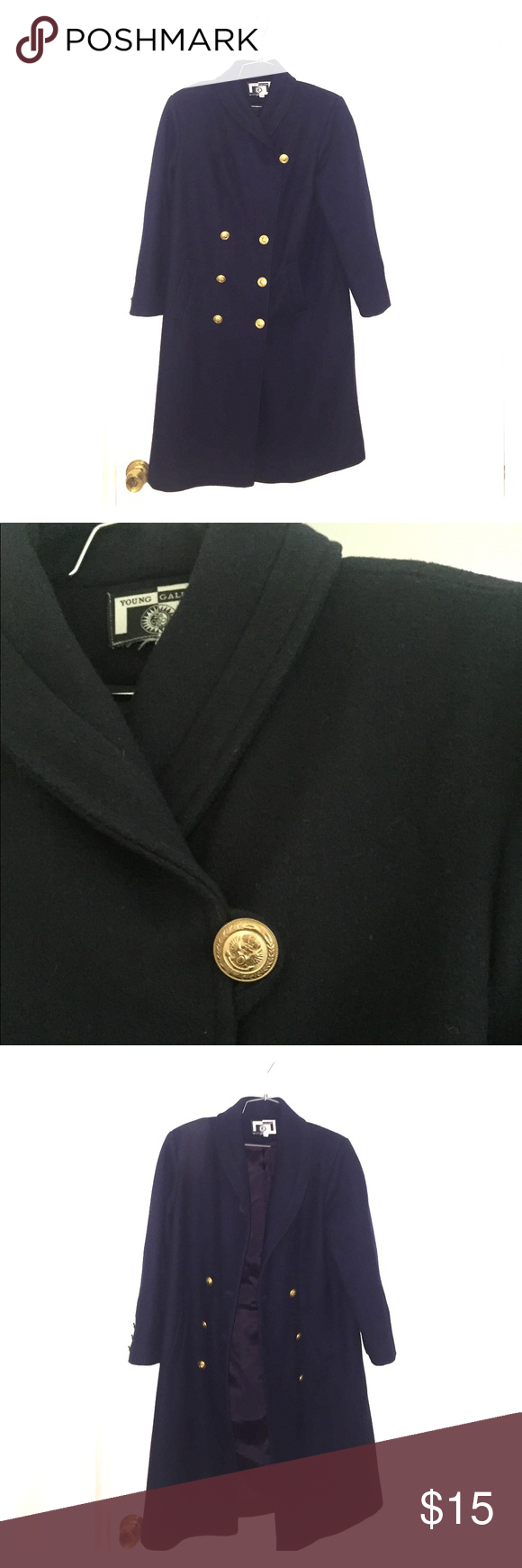Young Gallery Full Length Pea Coat Hey Poshers here is a Young Gallery Full Length Wool Pea Coat with Gold Buttons in great Condition. Perfect for winter but on sale for summer! young Gallery Jackets & Coats Pea Coats