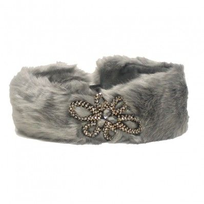 Crystal Flower Fashion Fur Winter Headband- ILHB01-H428 - HAIR ACCESSORIES - ACCESSORIES | Shop Jewelry Factory