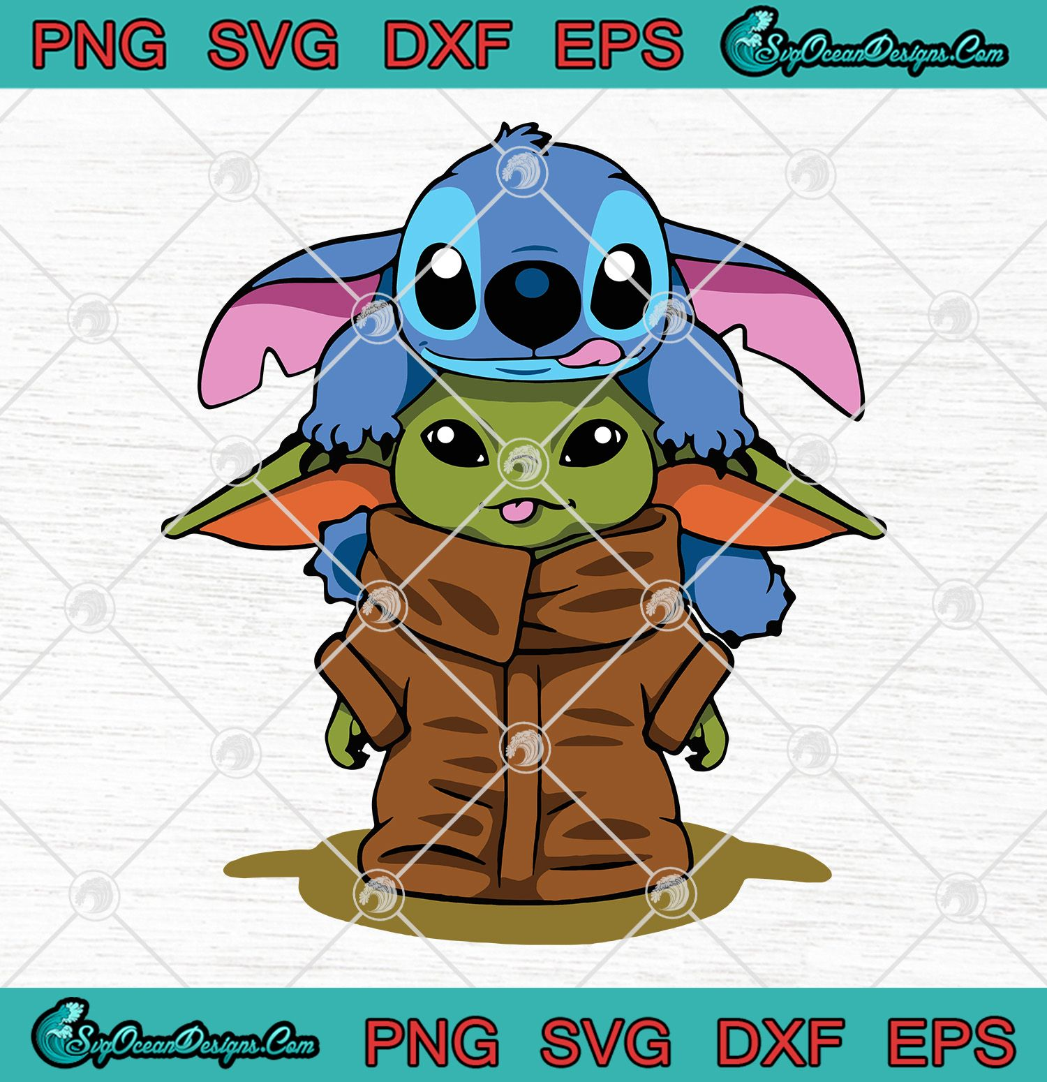 Baby Yoda With Stitch Svg Png Eps Dxf Vector Cricut File Baby Toda Cute Svg Png Stitch Svg Png Disney Symbols Stitch Drawing Yoda Art