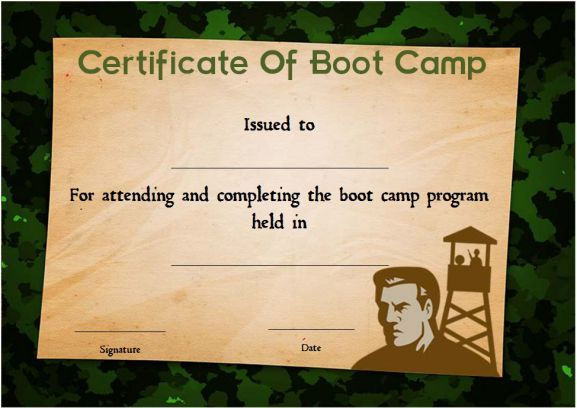 Boot Camp Certificate Camouflage Boot Camp Certificate Template