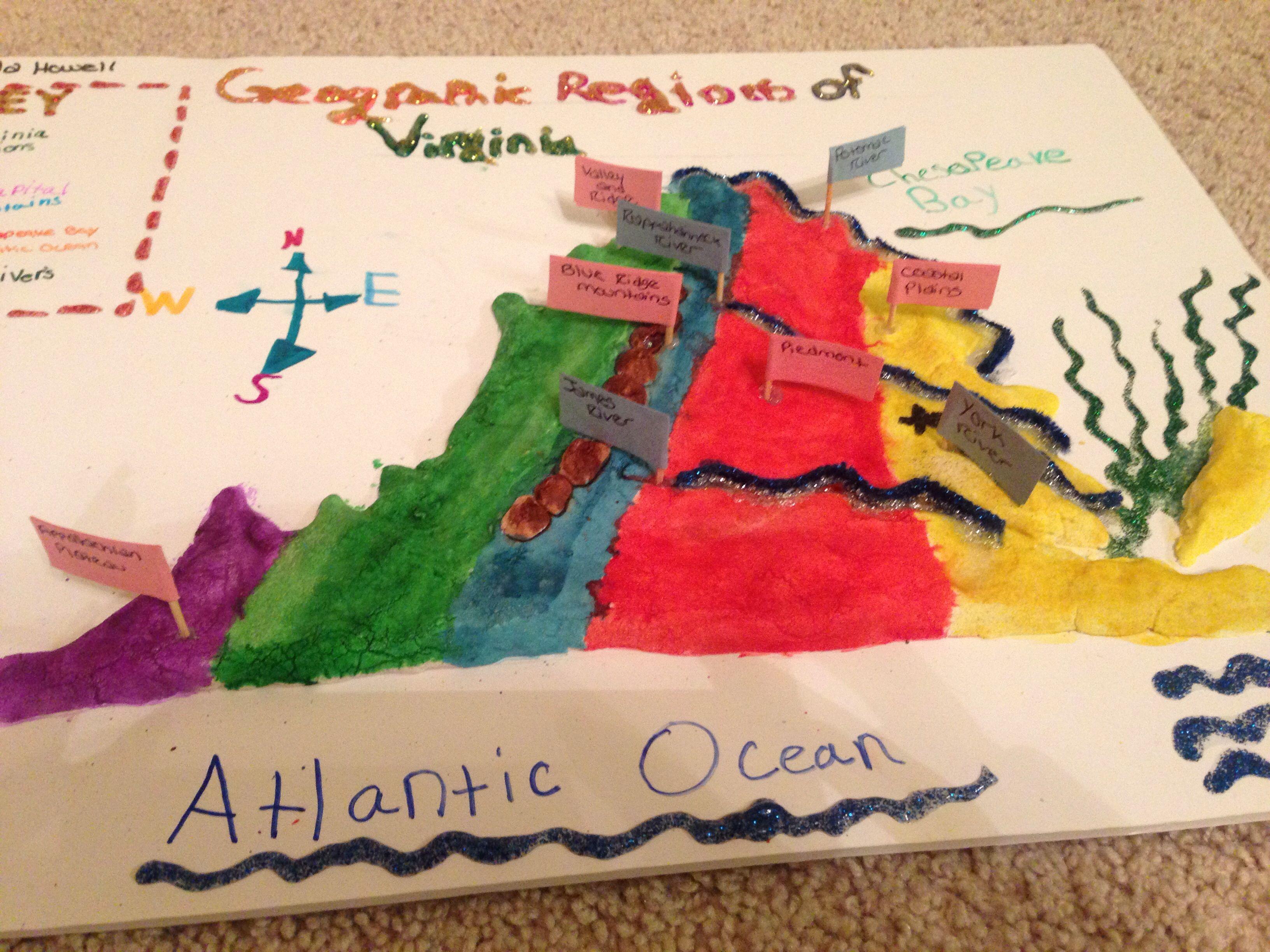 Salt Dough Map Of Virginia