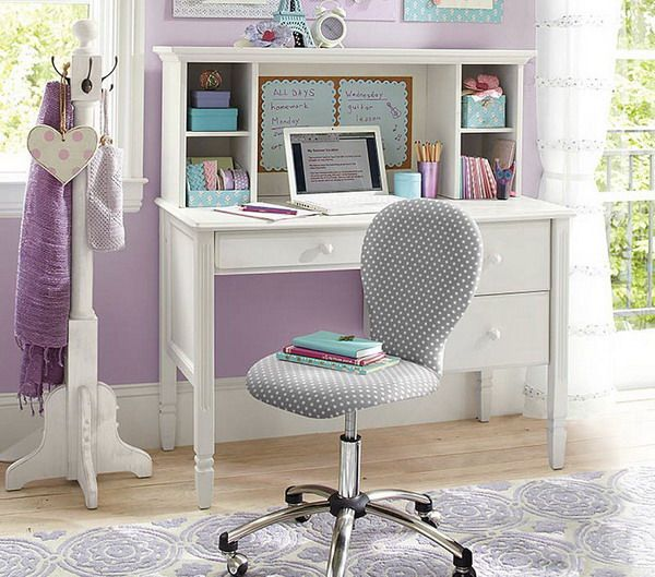 Luxurious Girls Bedroom White And Chair | home | Bedroom desk, Desk ...