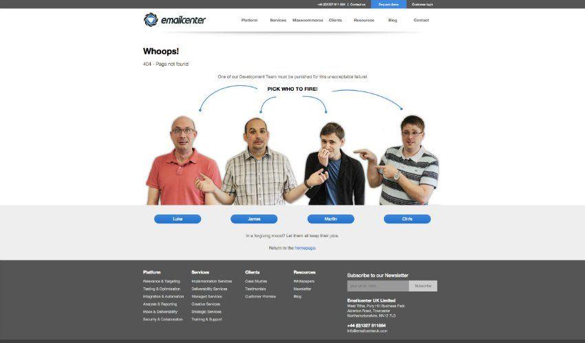Auf der Website Emailcenter kann man anklicken, wen man für den 404-Fehler...