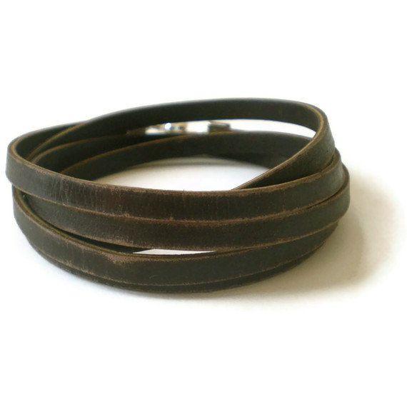 Brown Leather Wrap Bracelet Mens
