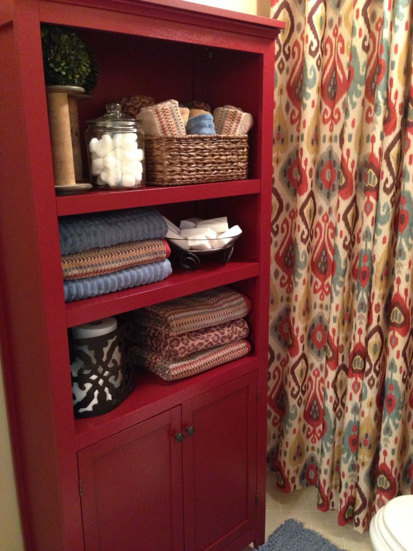 Small Bathroom Decorations Ikat Curtains From Pier 1 Used As Shower Curtain Red Shelving Unit And Towels Target Misc Accessories Tj Ma